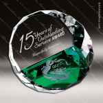 Crystal Green Accented Duet Color Round Paperweight Trophy Award Paperweight Crystal Awards