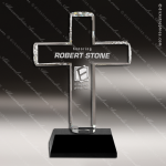 Crystal Black Accented Religious Cross Trophy Award PDU CAT Crystal Trophy Awards