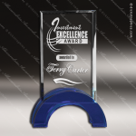 Crystal Blue Accented Rectangle Hampton Trophy Award PDU CAT Crystal Trophy Awards