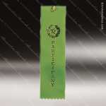 Green Participant Pinked Ribbon Peaked Bottom Award Ribbons