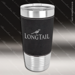 Black/Silver Leatherette Double Wall Insulated Stainless Steel Travel Mug Personalized Black Drinkware Engraved