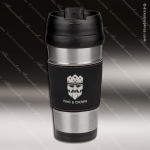 Engraved Leather Stainless Steel 16 Oz. Mug Black Grip Laser Etched Gift Personalized Black Drinkware Engraved