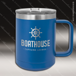 Double Wall Insulated Coffee Mug - Blue Personalized Blue Drinkware Engraved