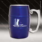 Engraved Stainless Steel Metal Barrel Mug Blue Laser Etched Gift Personalized Blue Drinkware Engraved