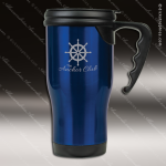 Engraved Stainless Steel 14 Oz. Travel Coffee Mug Blue Laser Etched Gift Personalized Blue Drinkware Engraved
