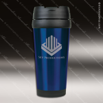 Engraved Stainless Steel 16 Oz. Travel Mug Blue Laser Etched Gift Personalized Blue Drinkware Engraved