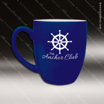 Engraved Ceramic 16 Oz. Bistro Mug Blue Laser Etched Gift Personalized Blue Drinkware Engraved