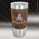 Rustic/Silver Leatherette Double Wall Insulated Stainless Steel Travel Mug Personalized Embossed Leather Drinkware Engraved