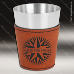 Leatherette Shot Glass -Rawhide Personalized Embossed Leather Drinkware Engraved