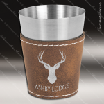Leatherette Shot Glass -Rustic/Silver Personalized Embossed Leather Drinkware Engraved