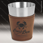 Leatherette Shot Glass -DarkBrown Personalized Embossed Leather Drinkware Engraved