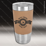 Light Brown Leatherette Double Wall Insulated Stainless Steel Travel Mug Personalized Embossed Leather Drinkware Engraved