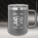 Double Wall Insulated Coffee Mug - Gray Personalized Gray Silver Drinkware Engraved