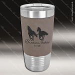 Gray Leatherette Double Wall Insulated Stainless Steel Travel Mug Personalized Gray Silver Drinkware Engraved