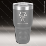 Engraved Stainless Steel 30 Oz. Ringneck Travel Mug Gray Etched Gift Personalized Gray Silver Drinkware Engraved