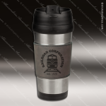 Engraved Leather Stainless Steel 16 Oz. Mug Gray Grip Laser Etched Gift Personalized Gray Silver Drinkware Engraved