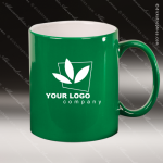 Engraved Ceramic 11 Oz. Round Coffee Mug Green Laser Etched Gift Personalized Green Drinkware Engraved