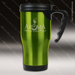 Engraved Stainless Steel 14 Oz. Travel Coffee Mug Green Laser Etched Gift Personalized Green Drinkware Engraved