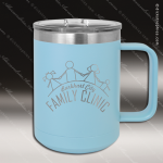 Double Wall Insulated Coffee Mug - Light Blue Personalized Light Blue Drinkware Engraved