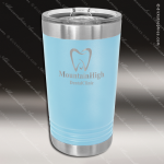 Double Wall Insulated Pint with Clear Slider Lid -Light Blue Personalized Light Blue Drinkware Engraved