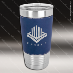 Blue/Silver Leatherette Double Wall Insulated Stainless Steel Travel Mug Personalized Navy Blue Drinkware Engraved