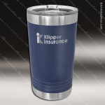 Double Wall Insulated Pint with Clear Slider Lid -Navy Blue Personalized Navy Blue Drinkware Engraved