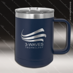 Double Wall Insulated Coffee Mug - Navy Personalized Navy Blue Drinkware Engraved