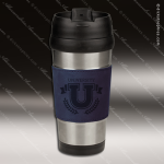 Engraved Leather Stainless Steel 16 Oz. Mug Blue Grip Laser Etched Gift Personalized Navy Blue Drinkware Engraved