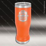 Double Wall Insulated Pilsner with Clear Lid -Orange Personalized Orange Drinkware Engraved