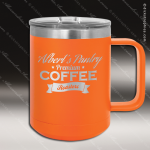 Double Wall Insulated Coffee Mug - Orange Personalized Orange Drinkware Engraved