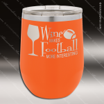 Engraved Stainless Steel 12 Oz. Stemless Wine Glass Orange Double Insulated Personalized Orange Drinkware Engraved
