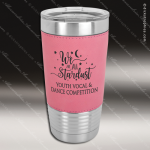 Pink Leatherette Double Wall Insulated Stainless Steel Travel Mug Personalized Pink Drinkware Engraved