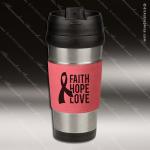 Engraved Leather Stainless Steel 16 Oz. Mug Pink Grip Laser Etched Gift Personalized Pink Drinkware Engraved