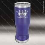 Double Wall Insulated Pilsner with Clear Lid -Purple Personalized Purple Drinkware Engraved