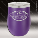 Engraved Stainless Steel 12 Oz. Stemless Wine Glass Purple Double Insulated Personalized Purple Drinkware Engraved
