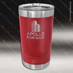 Maroon Double Wall Insulated Pint with Clear Slider Lid Personalized Red Drinkware Engraved