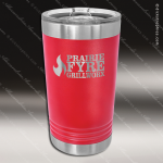 Double Wall Insulated Pint with Clear Slider Lid -Red Personalized Red Drinkware Engraved