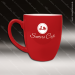 Engraved Ceramic 16 Oz. Bistro Mug Red Laser Etched Gift Personalized Red Drinkware Engraved