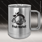 Double Wall Insulated Coffee Mug - Silver Personalized Stainless Steal Drinkware Engraved