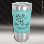 Teal Leatherette Double Wall Insulated Stainless Steel Travel Mug Personalized Teal Drinkware Engraved