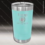 Double Wall Insulated Pint with Clear Slider Lid -Teal Personalized Teal Drinkware Engraved