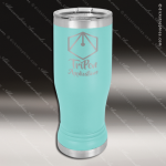 Double Wall Insulated Pilsner with Clear Lid -Teal Personalized Teal Drinkware Engraved