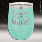 Engraved Stainless Steel 12 Oz. Stemless Wine Glass Teal Double Insulated Personalized Teal Drinkware Engraved
