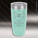 Engraved Stainless Steel 20 Oz. Ringneck Travel Mug Teal Etched Gift Etched Personalized Teal Drinkware Engraved