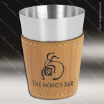 Leatherette Shot Glass -Bamboo Personalized Wood Bamboo Drinkware Engraved