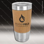 Leatherette Double Wall Insulated Tumbler -Bamboo Personalized Wood Bamboo Drinkware Engraved