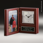 Desk Gift Rosewood Silver Accented Book Clock Award Photo Holder Clocks