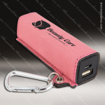 Embossed Etched Leather 2200mAh Power Bank -Pink Pink Leather Items