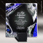 Majestical Blues Artistic Blue Multicolored Glass Tray Plaque Award Plate Glass Art Trophy Awards
