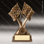 Premium Resin Gold Checkered Flags Automotive Trophy Award Premium Gold Resin Trophies